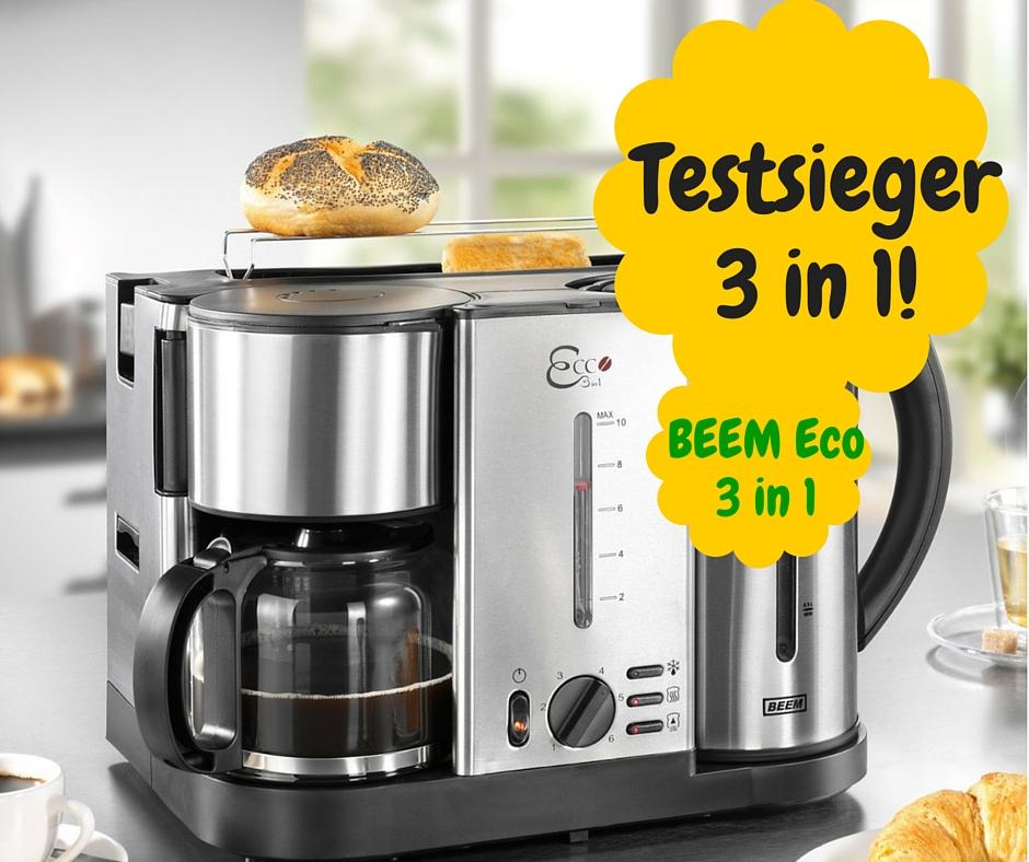 BEEM Germany Ecco 3-in-1 Frühstücks-Center, Kaffeemaschine, Wasserkocher und Toaster, Edelstahl-gebürstet