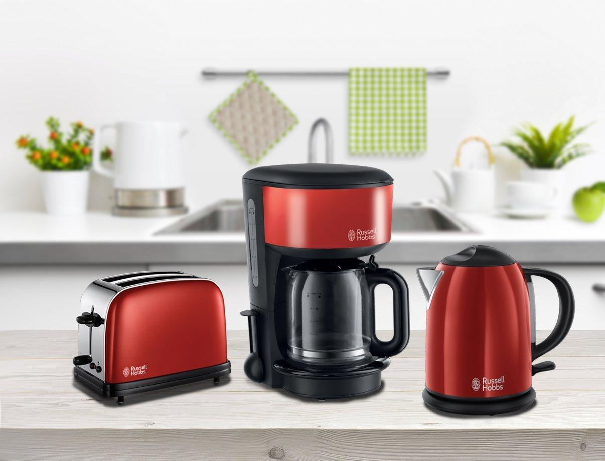 Frühstücksset Kaffeemaschine Wasserkocher Toaster rot