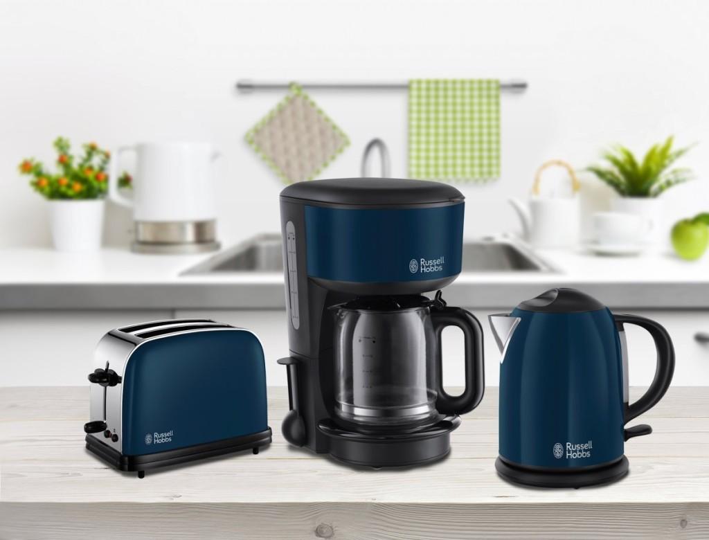 Russel Hobbs Frühstücksset Kaffeemaschine Toaster Wasserkocher blau
