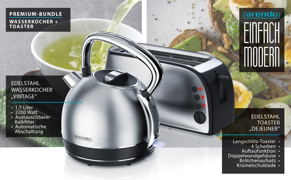 Wasserkocher Toaster Set Arendo